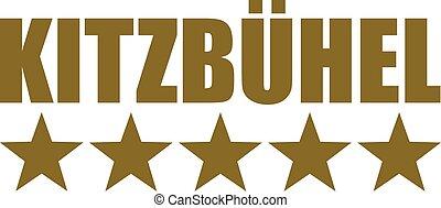 Kitzbühel word with five stars