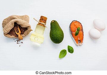kiválasztás, élelmiszer, eredetek, közül, omega 3, és, telítetlen, hizlal