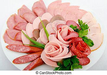 kiválasztás, hús, tál