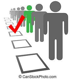 kiválaszt, emberek in, kiválasztás, választás, szavaz, dobozok