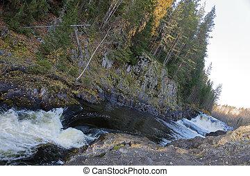kivach, cachoeira, karelia, rússia