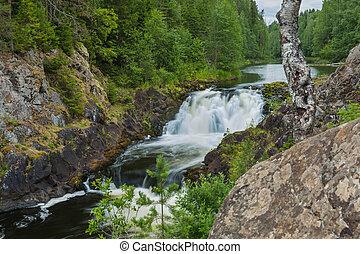Kivach waterfall in Karelia Russia