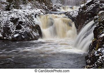 Kivach waterfall in the winter, Karelia, Russia