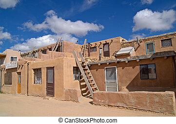 Kivas and ladders in Acoma pueblo, Sky City, New Mexico, USA...
