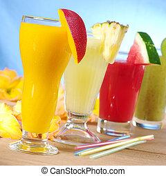 kivi, erdő, szalmakalapok, mangó, összpontosít, smoothie, összpontosít, mangó, görögdinnye, (selective, front), ivás, ananász