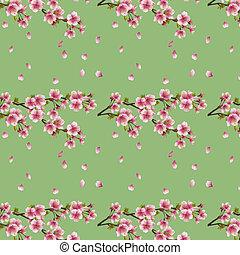 kivirul, cseresznyefa, seamless, sakura, háttér