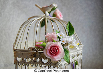 kivirul, eredet, flowers., decorations., esküvő, kalitka madár