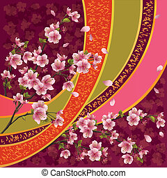 kivirul, motívum, japán, sakura