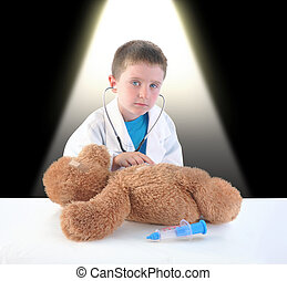 kivizsgálás, gyermek, orvos, hord, teddy-mackó