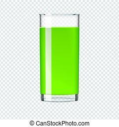 kiwi, épinards, smoothie, verre, concombre, vector., réaliste, boisson, juice., ou