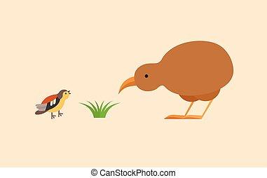 Kiwi and bird flat icon