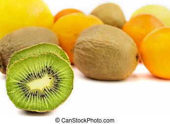 kiwi and fruits on white