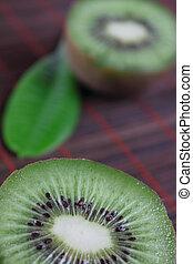 kiwi, bambú, corte, fruta, servilleta