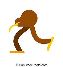 Kiwi bird cartoon isolated. little bird run vector illustration?
