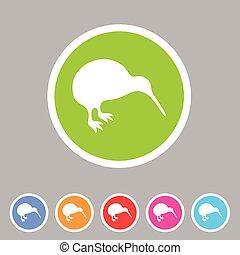 Kiwi bird icon flat web sign symbol logo label
