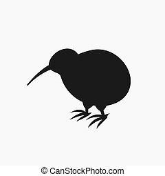 Kiwi bird silhouette icon