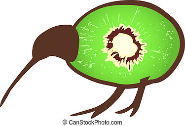 Kiwi bird with kiwi - Small black kiwi bird wit body formed...