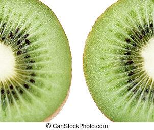 kiwi, blanc, fruit, forme coeur, isolé