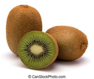 kiwi, branca, fruta, isolado, fundo