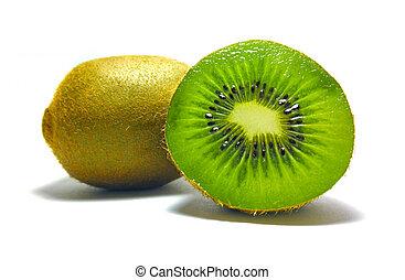 kiwi, branca, isolado, fundo, pedaços
