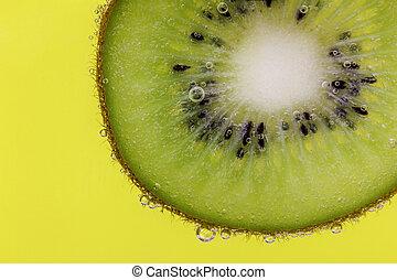 kiwi, carbonaté, couper, eau, jaune
