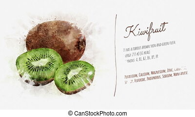 Kiwi card with ingredients and useful elements - Animated...