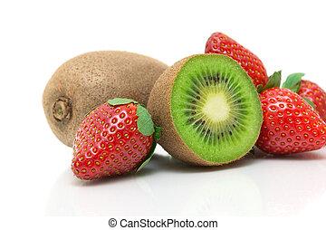 kiwi, close-up, sappig, aardbei, achtergrond, witte
