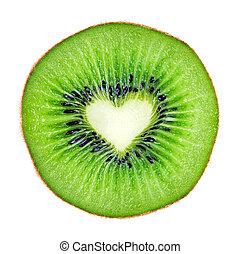 kiwi, coeur, couper, macro, forme, fruit