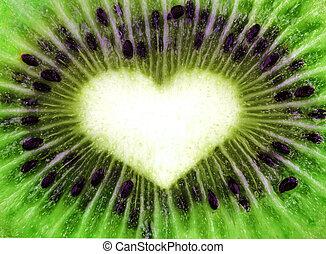 kiwi, coeur, forme abstraite, texture