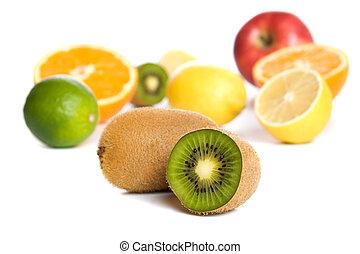 kiwi, com, outro, tropicais, e, fruta cítrica