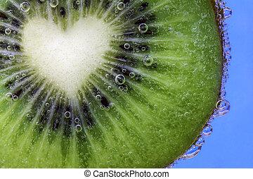 kiwi, coração, fatia, dado forma