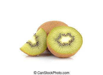 kiwi, cortado, branca, isolado, forte