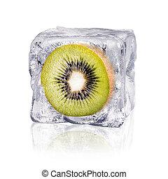 kiwi, cubo, hielo