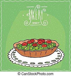 kiwi, de encaje, servilleta, tartlet, bayas