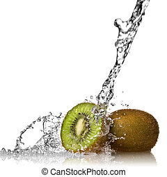 kiwi, eau, blanc, éclaboussure, isolé