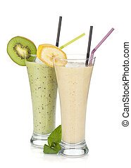 kiwi, en, banaan, melk, smoothie