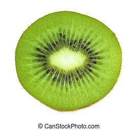kiwi, fetta, isolato, frutta, fondo, bianco