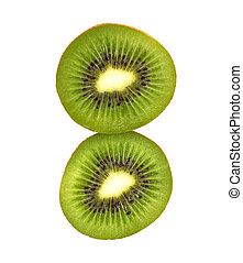 kiwi, fetta, isolato, frutta, fondo, fresco, bianco