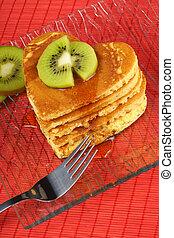 kiwi, forme coeur, crêpes, fruit, sirop, pile
