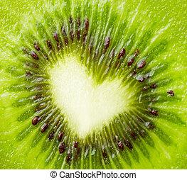 kiwi, forme coeur, vert