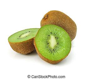 kiwi, fresco, branca, fruta, isolado