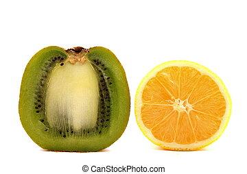 Kiwi fruit and lemon on a white
