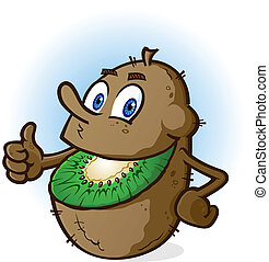A smiling cheerful kiwifruit cartoon character with a green smile and brown fuzzy rind