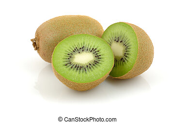 Close up of kiwi fruit on white background