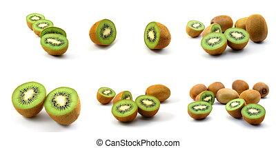 kiwi fruit food collection isolated on white background