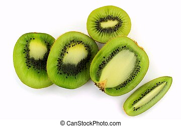 Kiwi fruit cut in various