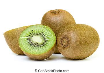 Kiwi fruit - Freshly harvested kiwi fruit on white...