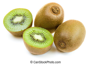 Freshly harvested kiwi fruit on white background
