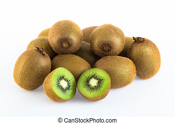 Kiwi fruit group on white background