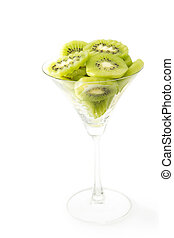 Kiwi fruit in the cocktail glass on white background